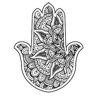 Mandala-ontwerp. hamsa symbool