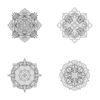 Mandala ontwerp kleurplaat of print ontwerp instellen