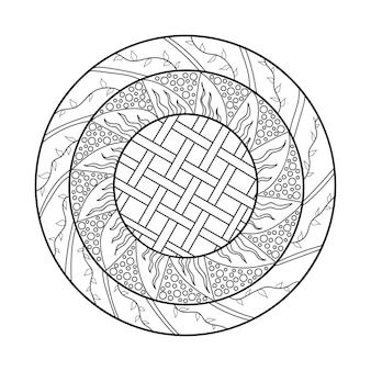 Mandala ontwerpelement symmetrisch rond ornament abstracte doodle achtergrond kleurplaat