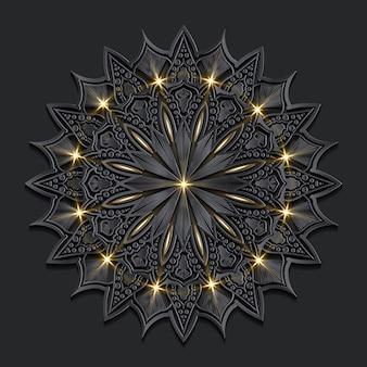 Mandala oosterse achtergrond van het luxe donkere damast