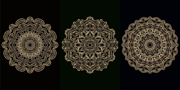 Mandala ornament of bloem achtergrond ontwerpset collectie.