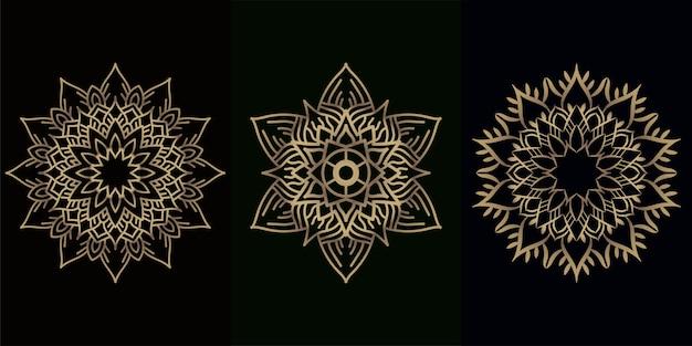 Mandala ornament of bloem achtergrond ontwerpset