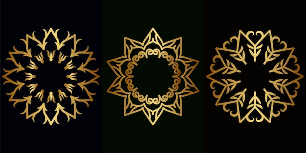 Mandala ornament of bloem achtergrond set collectie.