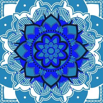 Mandala-patronen op blauw