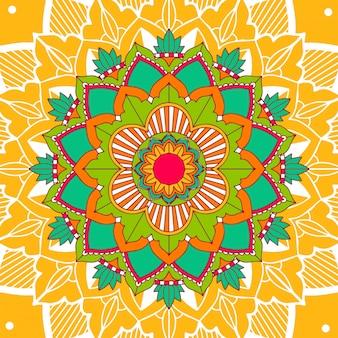 Mandala-patronen op geel