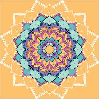 Mandala-patronen op gele achtergrond