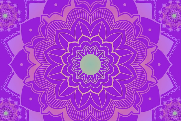 Mandala-patronen op paarse achtergrond