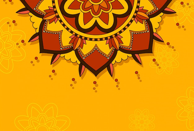 Mandala-patroon op oranje