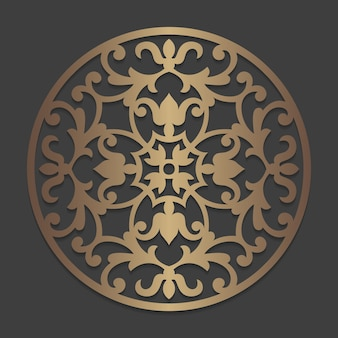 Mandala rond ornamentpatroon. sierlijke stencil cirkelelement. cirkelvormig silhouetpatroon voor lasersnijden of stansmachines. oosterse houten sticker sjabloon.
