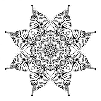 Mandala's kleurboek, bloemvorm, oosterse therapie, yogaemblemen vector.