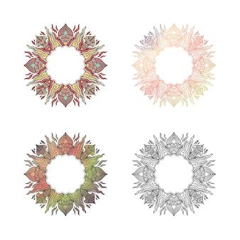 Mandala set kleurontwerp voor tittel of opening