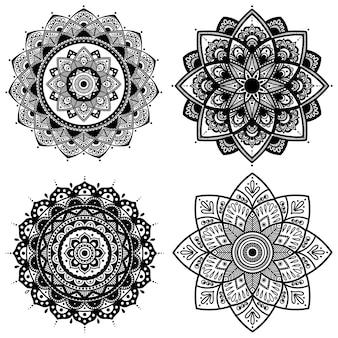 Mandala set zwart en wit