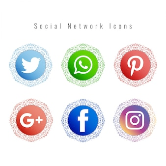 Mandala stijl social network icons set