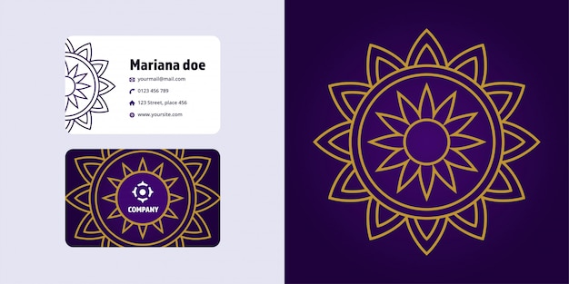Mandala tekenen en visitekaartje set. monoline-logomerk