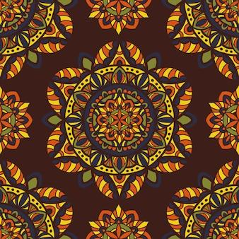 Mandala vector naadloos patroon. tribal sieraad.