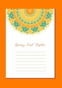 Mandala vintage sjabloonkaart in arabisch en indiaas, islam en ottomaanse, turkse, aziatische stijl voor brochure, flyer, groet, uitnodigingskaart, dekking. formaat a4. bloemen vakantie sierontwerp. vector