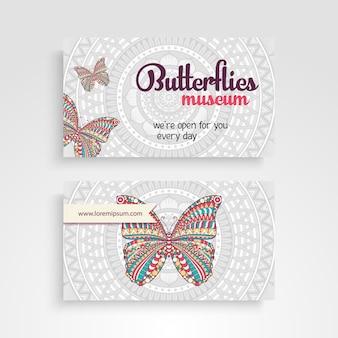 Mandala visitekaartje met vlinder ontwerp