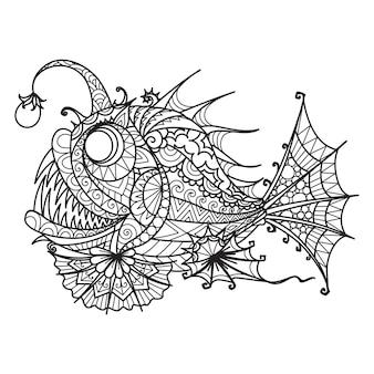 Mandala zeeduivel voor kleurboek, afdrukken op product, lasersnijden, graveren enzovoort. vector illustratie.