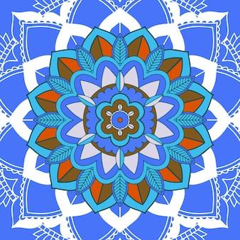 Mandalapatronen op blauwe achtergrond