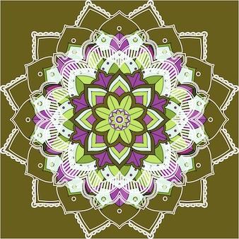 Mandalapatronen op groene achtergrond
