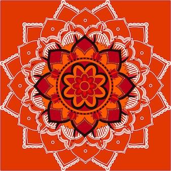 Mandalapatronen op rode achtergrond