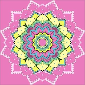 Mandalapatronen op roze achtergrond
