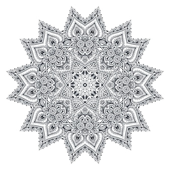 Mandalapatroon van henna bloemenelementen op basis van traditionele aziatische ornamenten.