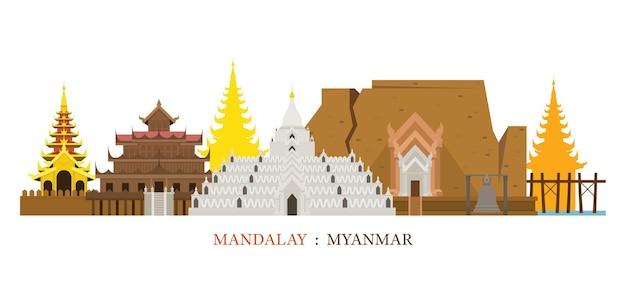 Mandalay myanmar skyline oriëntatiepunten