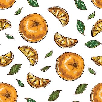 Mandarijnen en specerijen, citrus en muntblaadjes naadloos patroon geïsoleerd op wit