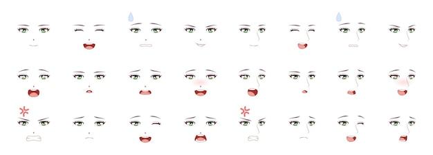 Manga mannelijke expressie. man emoties anime gezichten. ogen, mond en wenkbrauwen japanse of koreaanse jongen tekens in kawaii aziatische stijl, komische mensen gevoelens symbool cartoon vector geïsoleerde collectie