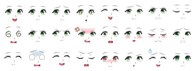 Manga-uitdrukking. anime meisje gezichtsuitdrukkingen. ogen, mond en neus, wenkbrauwen in japanse stijl. manga vrouw emoties cartoon vector set. illustratie karakter manga gezichtsmeisje, schattige uitdrukking