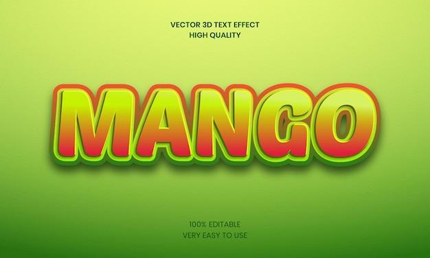 Mango 3d bewerkbaar teksteffect premium vector