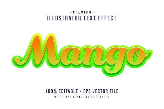 Mango bewerkbaar 3d-teksteffect of grafische stijl met groen-geel verloop