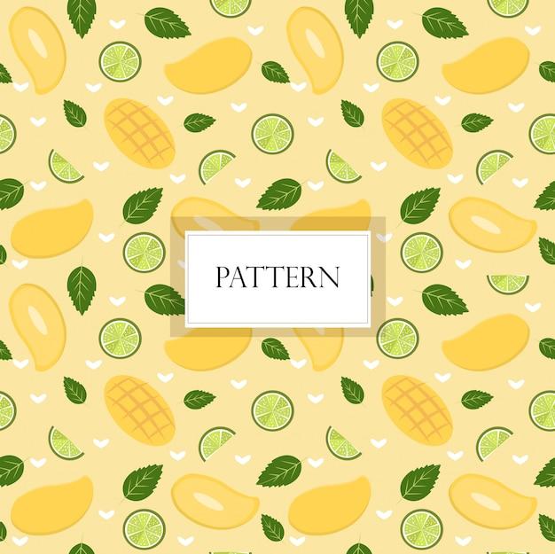 Mango en citroen naadloze patroon