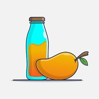 Mango en sap in een flesillustratieontwerp