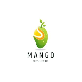 Mango fruit kleurrijke gradiënt logo pictogram ontwerp sjabloon vectorillustratie