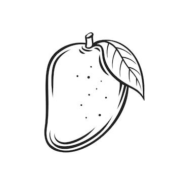 Mango fruit overzicht pictogram, zwart-wit afbeelding tekenen. gezonde voeding, biologisch voedsel, vegetarisch product.