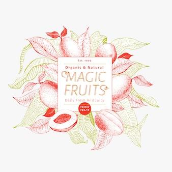 Mango fruit sjabloon voor spandoek. hand getekend vector fruit illustratie. gegraveerde stijl retro exotische achtergrond.