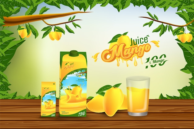 Mango juice advertising banner advertenties template ontwerp