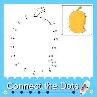 Mango kinderpuzzel verbind de stippen werkblad voor kinderen die de nummers 1 tot en met 20 tellen