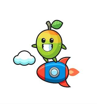 Mango-mascottekarakter rijden op een raket, schattig stijlontwerp voor t-shirt, sticker, logo-element