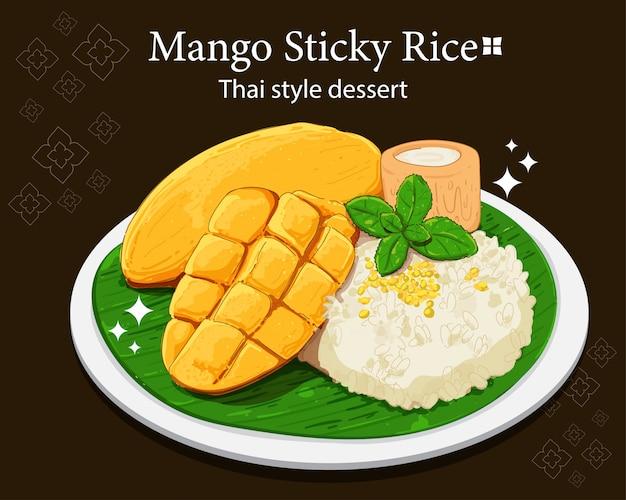 Mango plakkerige rijst thaise stijl dessert hand tekenen kunst illustratie premium vector