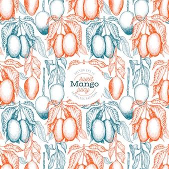 Mango takken naadloze patroon. hand getrokken vector tropische fruitillustratie. gegraveerde stijlfruit