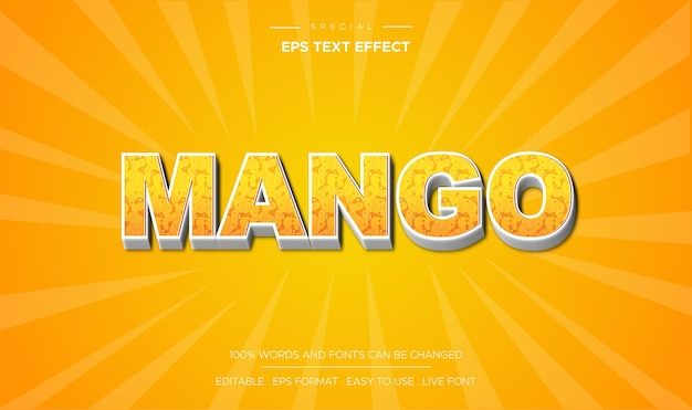 Mango teksteffect stijl concept