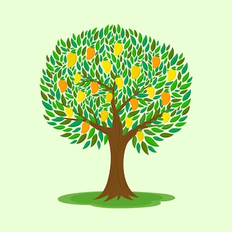 Mangoboom met fruit platte ontwerp illustratie