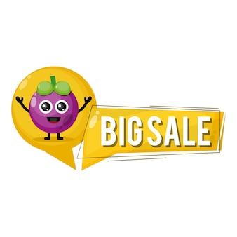 Mangosteen grote verkoop schattige karakter mascotte