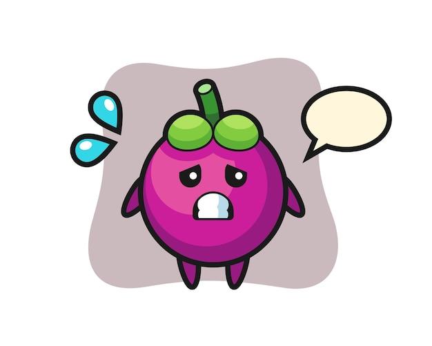 Mangosteen-mascottekarakter met bang gebaar, schattig stijlontwerp voor t-shirt, sticker, logo-element