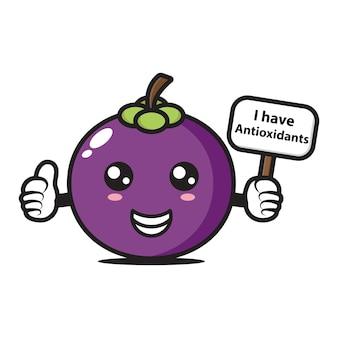 Mangosteenmascotte heeft een bordje dat zegt dat ik antioxidanten heb