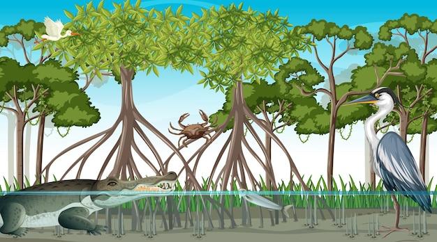Mangrovebosscène met verschillende dieren