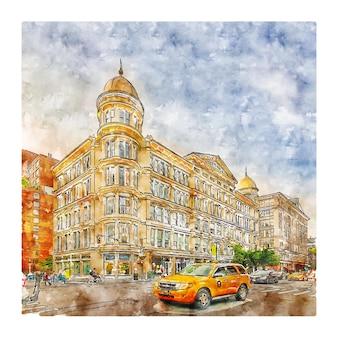 Manhattan new york aquarel schets hand getekende illustratie Premium Vector
